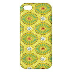 Sunflower Floral Yellow Blue Circle Apple Iphone 5 Premium Hardshell Case by Alisyart