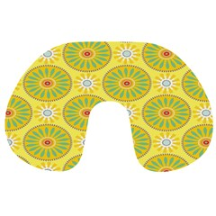 Sunflower Floral Yellow Blue Circle Travel Neck Pillows