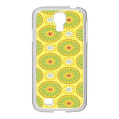 Sunflower Floral Yellow Blue Circle Samsung Galaxy S4 I9500/ I9505 Case (white) by Alisyart
