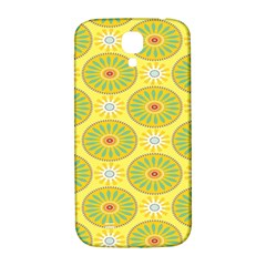 Sunflower Floral Yellow Blue Circle Samsung Galaxy S4 I9500/i9505  Hardshell Back Case by Alisyart