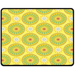 Sunflower Floral Yellow Blue Circle Double Sided Fleece Blanket (medium)  by Alisyart