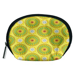 Sunflower Floral Yellow Blue Circle Accessory Pouches (medium)  by Alisyart