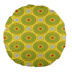 Sunflower Floral Yellow Blue Circle Large 18  Premium Flano Round Cushions by Alisyart
