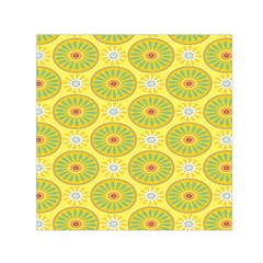 Sunflower Floral Yellow Blue Circle Small Satin Scarf (square) by Alisyart