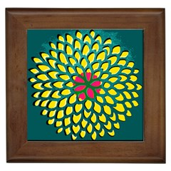 Sunflower Flower Floral Pink Yellow Green Framed Tiles by Alisyart