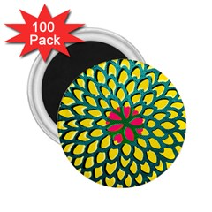 Sunflower Flower Floral Pink Yellow Green 2 25  Magnets (100 Pack)