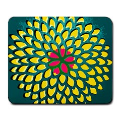 Sunflower Flower Floral Pink Yellow Green Large Mousepads by Alisyart