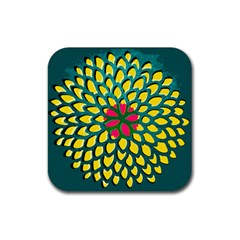 Sunflower Flower Floral Pink Yellow Green Rubber Square Coaster (4 Pack)  by Alisyart