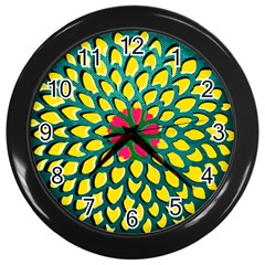 Sunflower Flower Floral Pink Yellow Green Wall Clocks (black) by Alisyart
