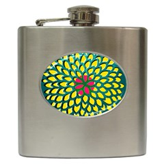 Sunflower Flower Floral Pink Yellow Green Hip Flask (6 Oz) by Alisyart
