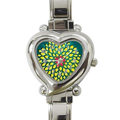 Sunflower Flower Floral Pink Yellow Green Heart Italian Charm Watch by Alisyart
