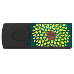 Sunflower Flower Floral Pink Yellow Green Usb Flash Drive Rectangular (4 Gb) by Alisyart