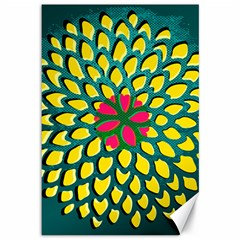 Sunflower Flower Floral Pink Yellow Green Canvas 12  X 18   by Alisyart