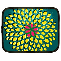 Sunflower Flower Floral Pink Yellow Green Netbook Case (large)