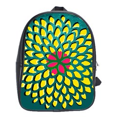 Sunflower Flower Floral Pink Yellow Green School Bags(large)  by Alisyart