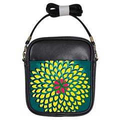 Sunflower Flower Floral Pink Yellow Green Girls Sling Bags by Alisyart