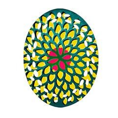 Sunflower Flower Floral Pink Yellow Green Ornament (oval Filigree) by Alisyart