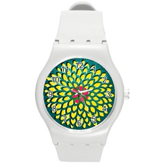 Sunflower Flower Floral Pink Yellow Green Round Plastic Sport Watch (m) by Alisyart