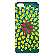 Sunflower Flower Floral Pink Yellow Green Apple Iphone 5 Seamless Case (black) by Alisyart