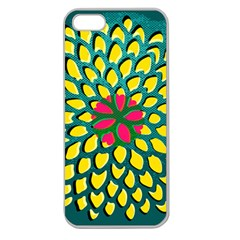 Sunflower Flower Floral Pink Yellow Green Apple Seamless Iphone 5 Case (clear) by Alisyart