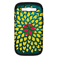 Sunflower Flower Floral Pink Yellow Green Samsung Galaxy S Iii Hardshell Case (pc+silicone) by Alisyart