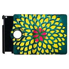 Sunflower Flower Floral Pink Yellow Green Apple Ipad 3/4 Flip 360 Case by Alisyart
