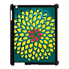 Sunflower Flower Floral Pink Yellow Green Apple Ipad 3/4 Case (black) by Alisyart