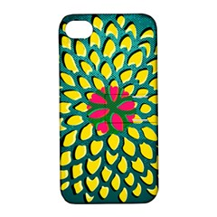 Sunflower Flower Floral Pink Yellow Green Apple Iphone 4/4s Hardshell Case With Stand by Alisyart