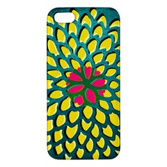 Sunflower Flower Floral Pink Yellow Green Apple Iphone 5 Premium Hardshell Case by Alisyart