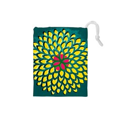 Sunflower Flower Floral Pink Yellow Green Drawstring Pouches (small)