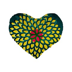 Sunflower Flower Floral Pink Yellow Green Standard 16  Premium Flano Heart Shape Cushions by Alisyart