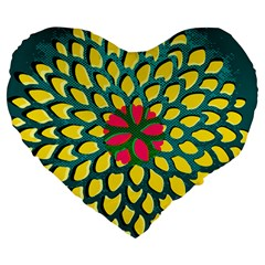 Sunflower Flower Floral Pink Yellow Green Large 19  Premium Flano Heart Shape Cushions by Alisyart