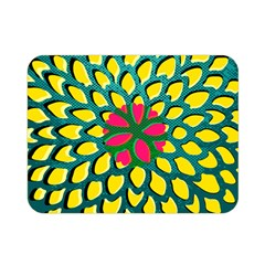 Sunflower Flower Floral Pink Yellow Green Double Sided Flano Blanket (mini)  by Alisyart