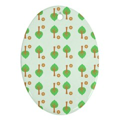 Tree Circle Green Yellow Grey Oval Ornament (two Sides) by Alisyart