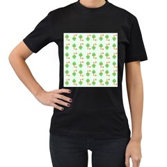 Tree Circle Green Yellow Grey Women s T Shirt (black)