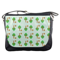 Tree Circle Green Yellow Grey Messenger Bags by Alisyart