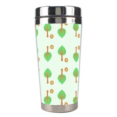 Tree Circle Green Yellow Grey Stainless Steel Travel Tumblers by Alisyart