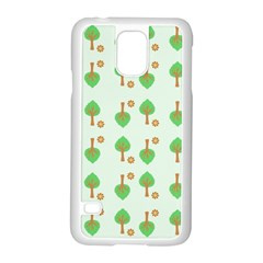 Tree Circle Green Yellow Grey Samsung Galaxy S5 Case (white)