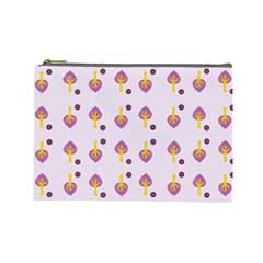 Tree Circle Purple Yellow Cosmetic Bag (large)
