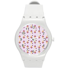 Tree Circle Purple Yellow Round Plastic Sport Watch (m) by Alisyart