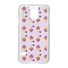Tree Circle Purple Yellow Samsung Galaxy S5 Case (white)