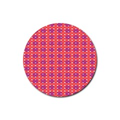 Roll Circle Plaid Triangle Red Pink White Wave Chevron Rubber Coaster (round)  by Alisyart