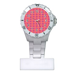 Roll Circle Plaid Triangle Red Pink White Wave Chevron Plastic Nurses Watch by Alisyart