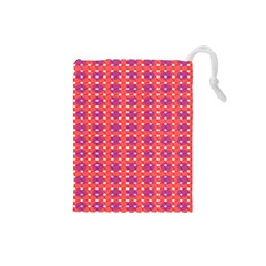 Roll Circle Plaid Triangle Red Pink White Wave Chevron Drawstring Pouches (small)