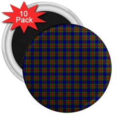 Tartan Fabrik Plaid Color Rainbow 3  Magnets (10 Pack)  by Alisyart