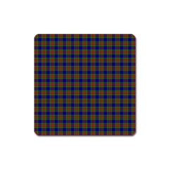 Tartan Fabrik Plaid Color Rainbow Square Magnet by Alisyart