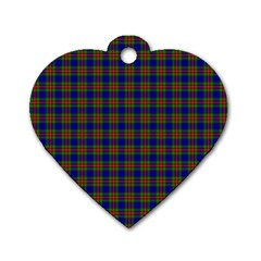 Tartan Fabrik Plaid Color Rainbow Dog Tag Heart (two Sides) by Alisyart