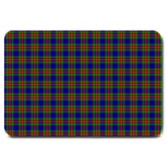 Tartan Fabrik Plaid Color Rainbow Large Doormat  by Alisyart