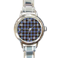 Tartan Fabrik Plaid Color Rainbow Triangle Round Italian Charm Watch by Alisyart