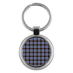 Tartan Fabrik Plaid Color Rainbow Triangle Key Chains (round)  by Alisyart